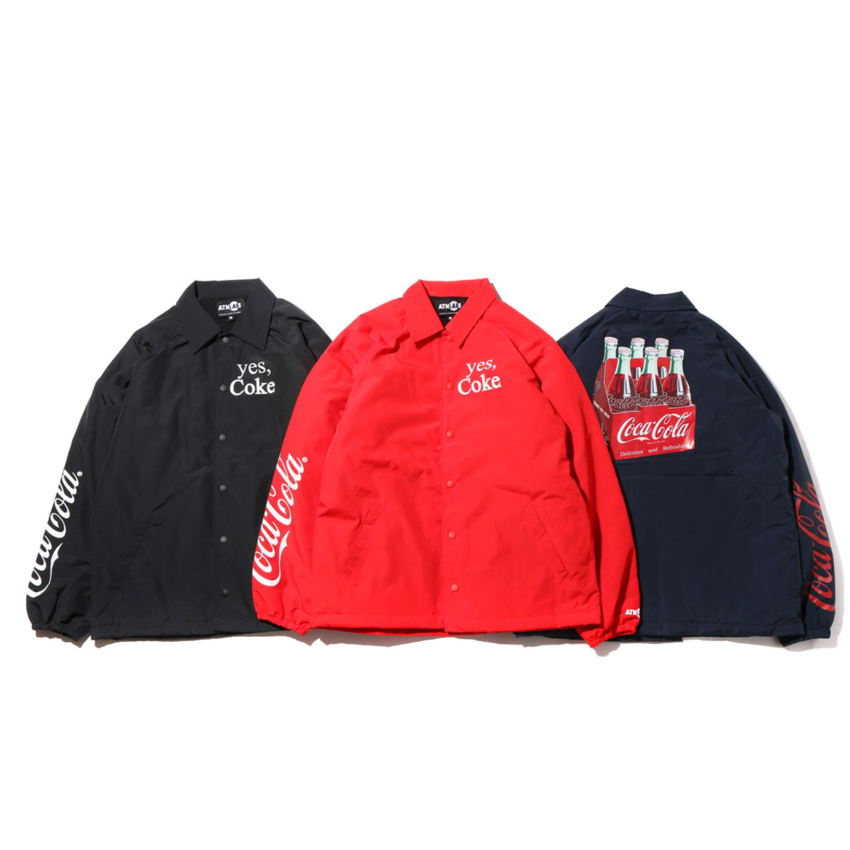 COCA-COLA by ATMOS LAB 6 BOTTLES COACH JACKET