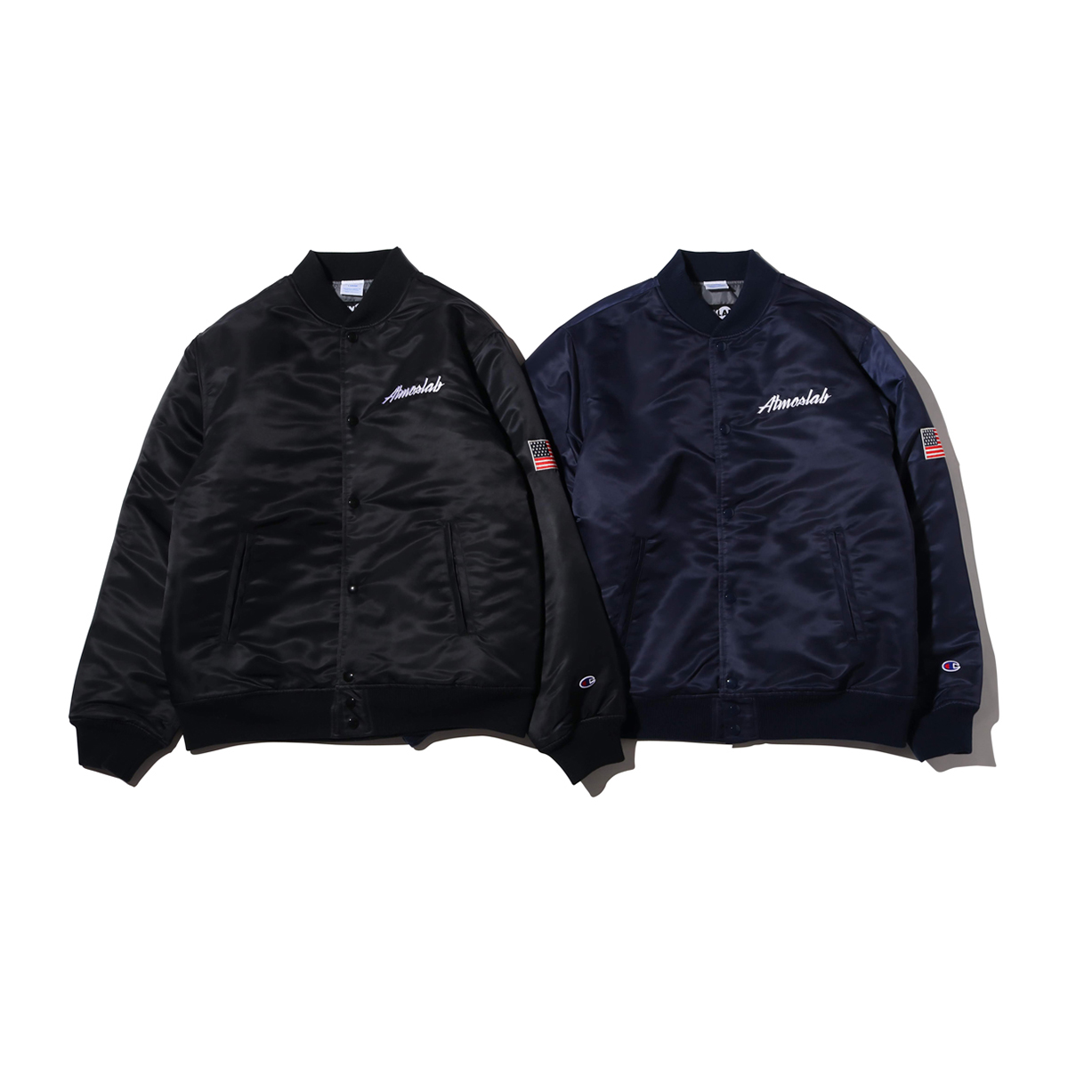 Champion × ATMOS LAB SATIN BASEBALL JACKET